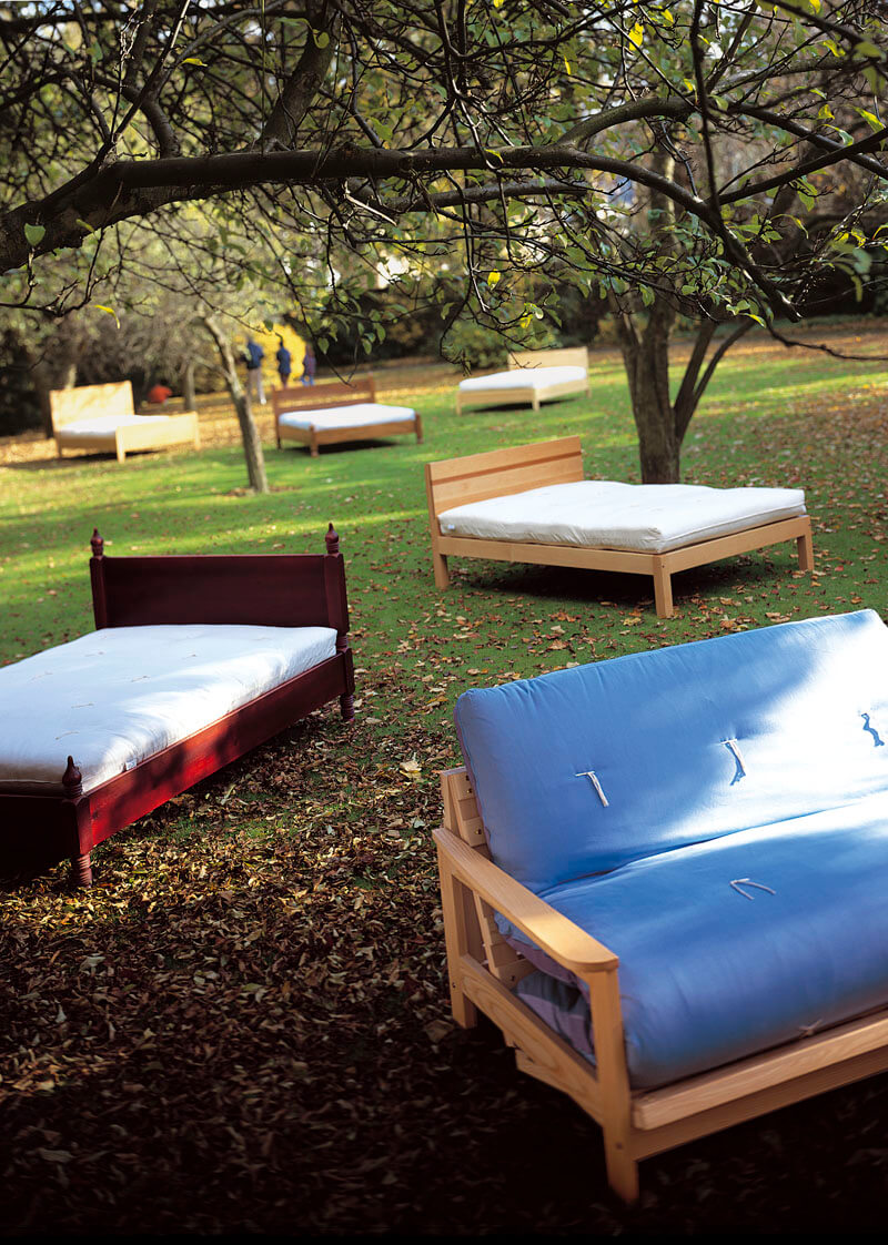 A group image of 6 designer beds shot on location in the Botanical Gardens in Sheffield